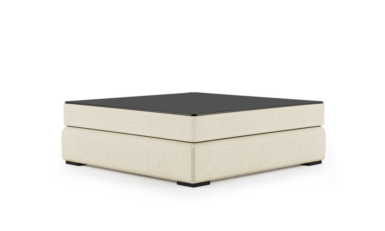 PLAT POUF WITH GLASS SQUARE TRAY