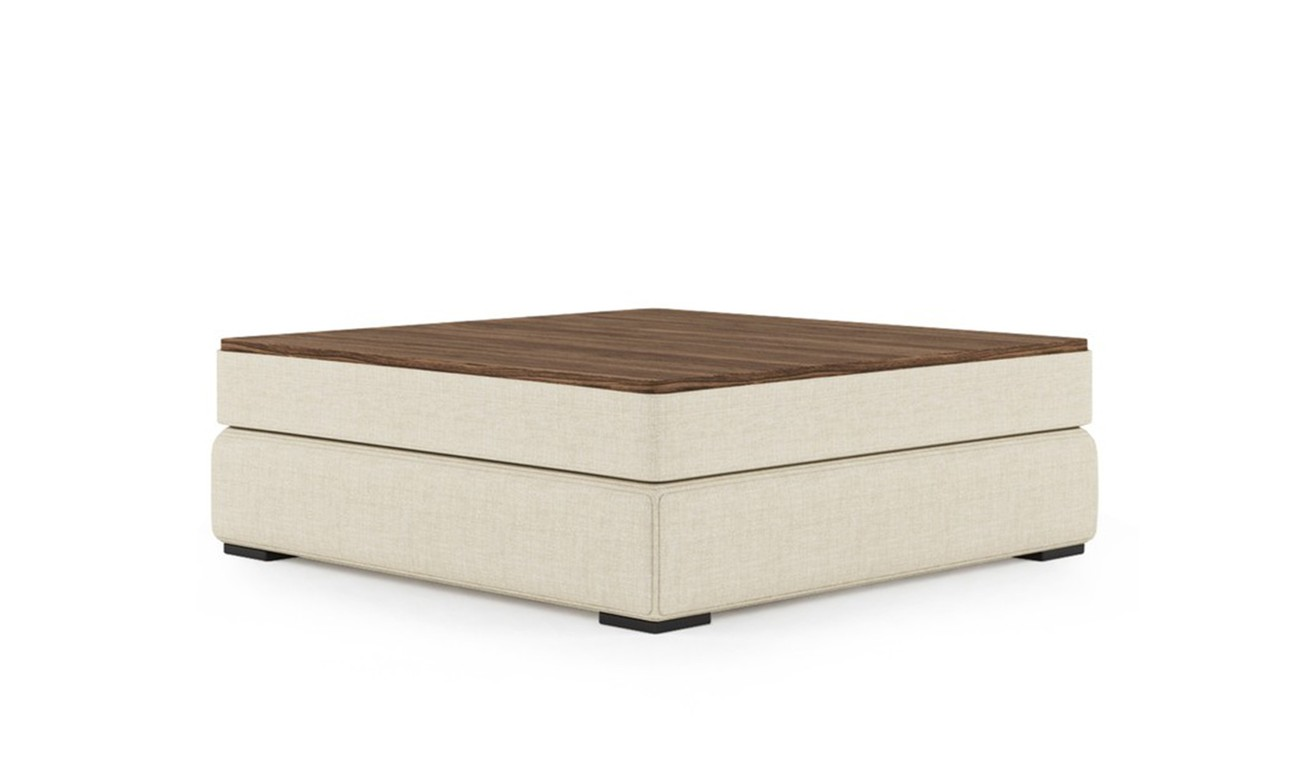PLAT POUF WITH WOOD SQUARE TRAY