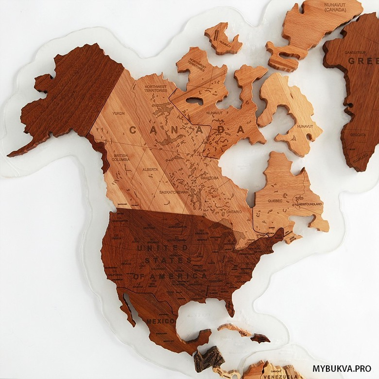 Wooden World Map. English language.