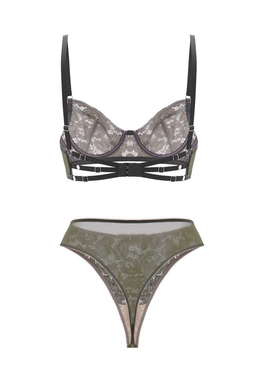 ALEXANDRA OLIVE LACE SET with garter belt