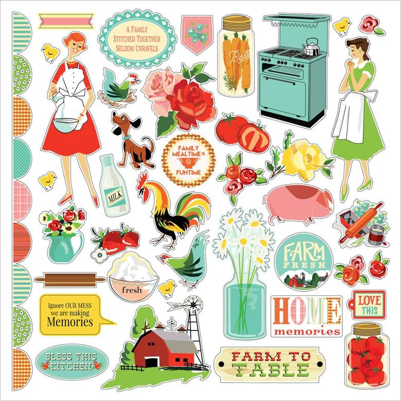"Стикеры Country Kitchen Cardstock Stickers 12""X12"""