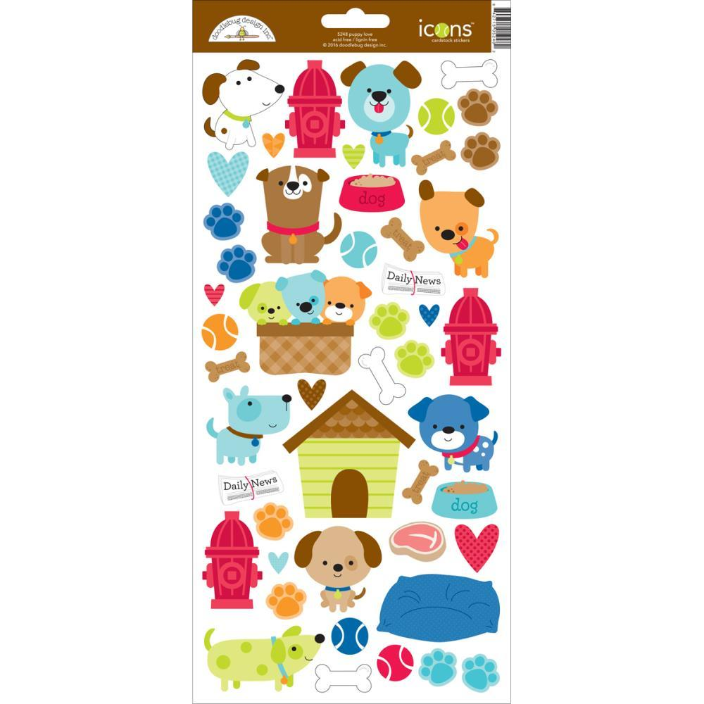 "Puppy Love Cardstock Stickers 6""X13"" Icons"