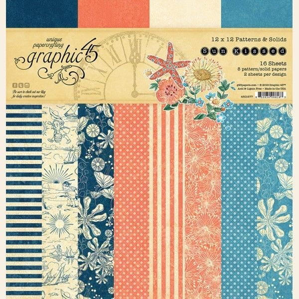 Graphic 45 - Sun Kissed Collection - 12 x 12 Patterns and Solids Paper Pad