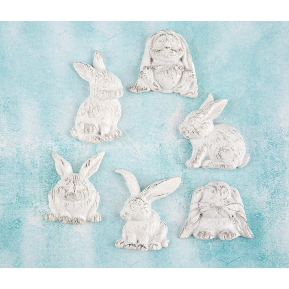 Prima Marketing Shabby Chic Treasures Resin Embellishments Rabbits 6/Pkg
