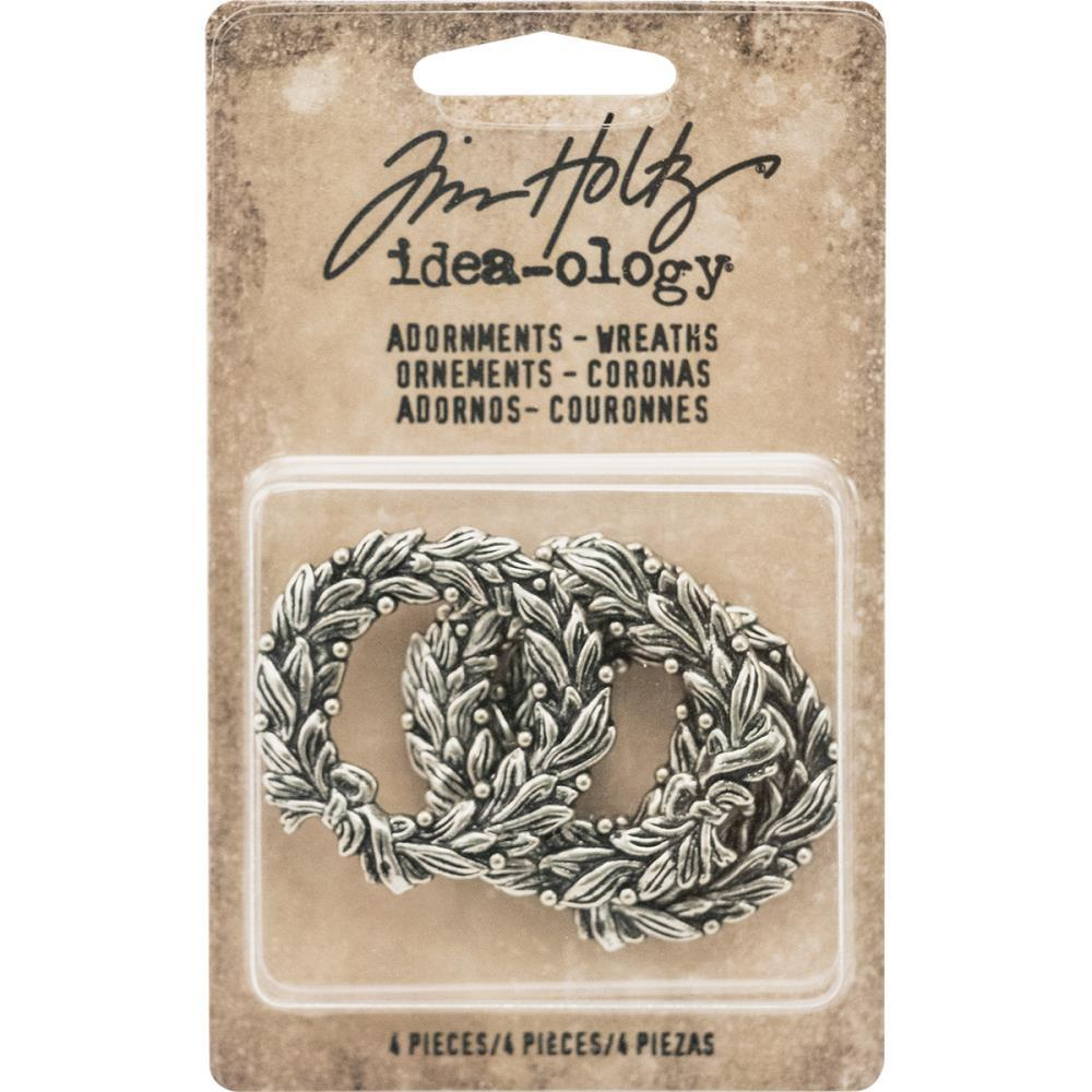 "Idea-Ology Metal Adornments 1.375"" 4/Pkg Antique Nickel Wreaths"