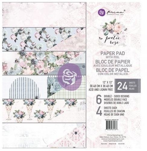 "Набор бумаги POETIC ROSE Prima Marketing Double-Sided Paper Pad 12""X12"" 24/Pkg"