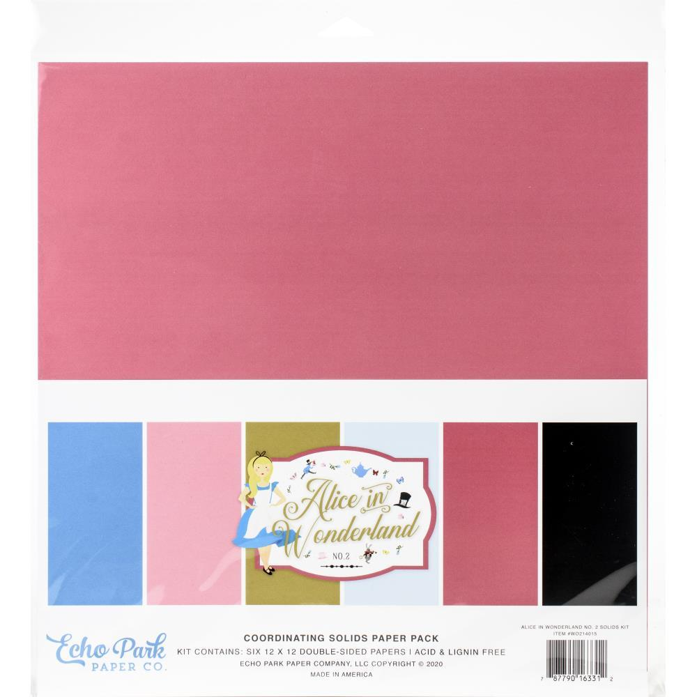 "Набор Alice In Wonderland Solid Cardstock Echo Park Double-Sided 12""X12"" 6/Pkg"