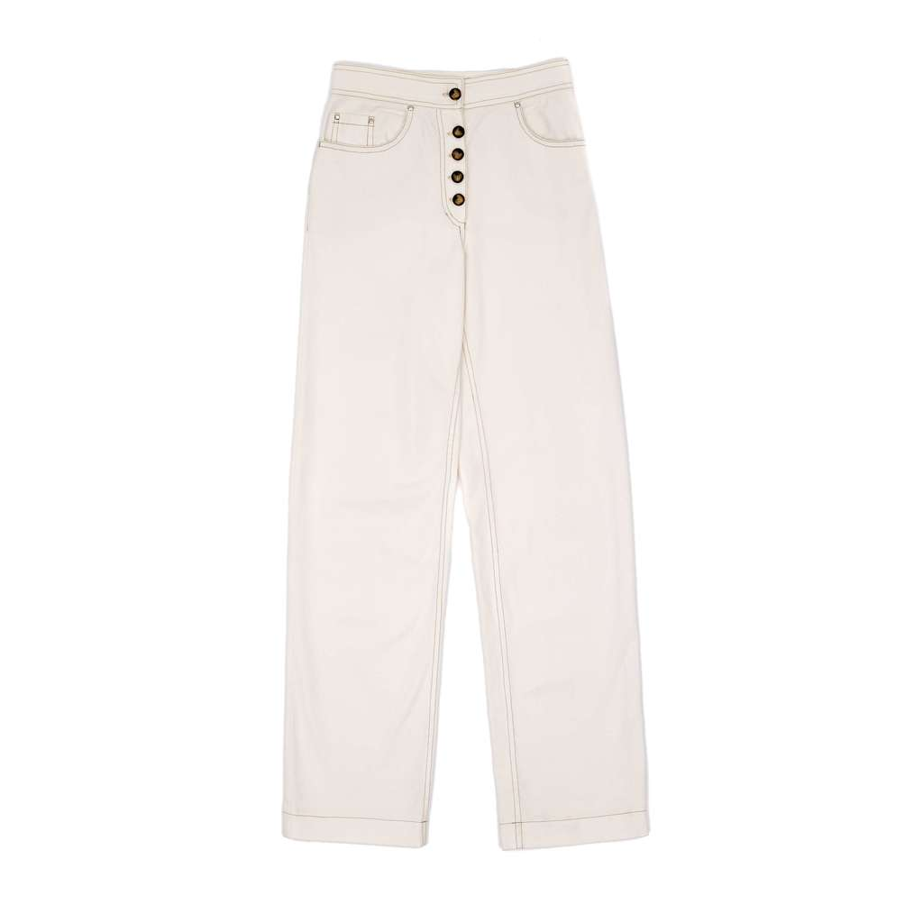 Button-front long jeans