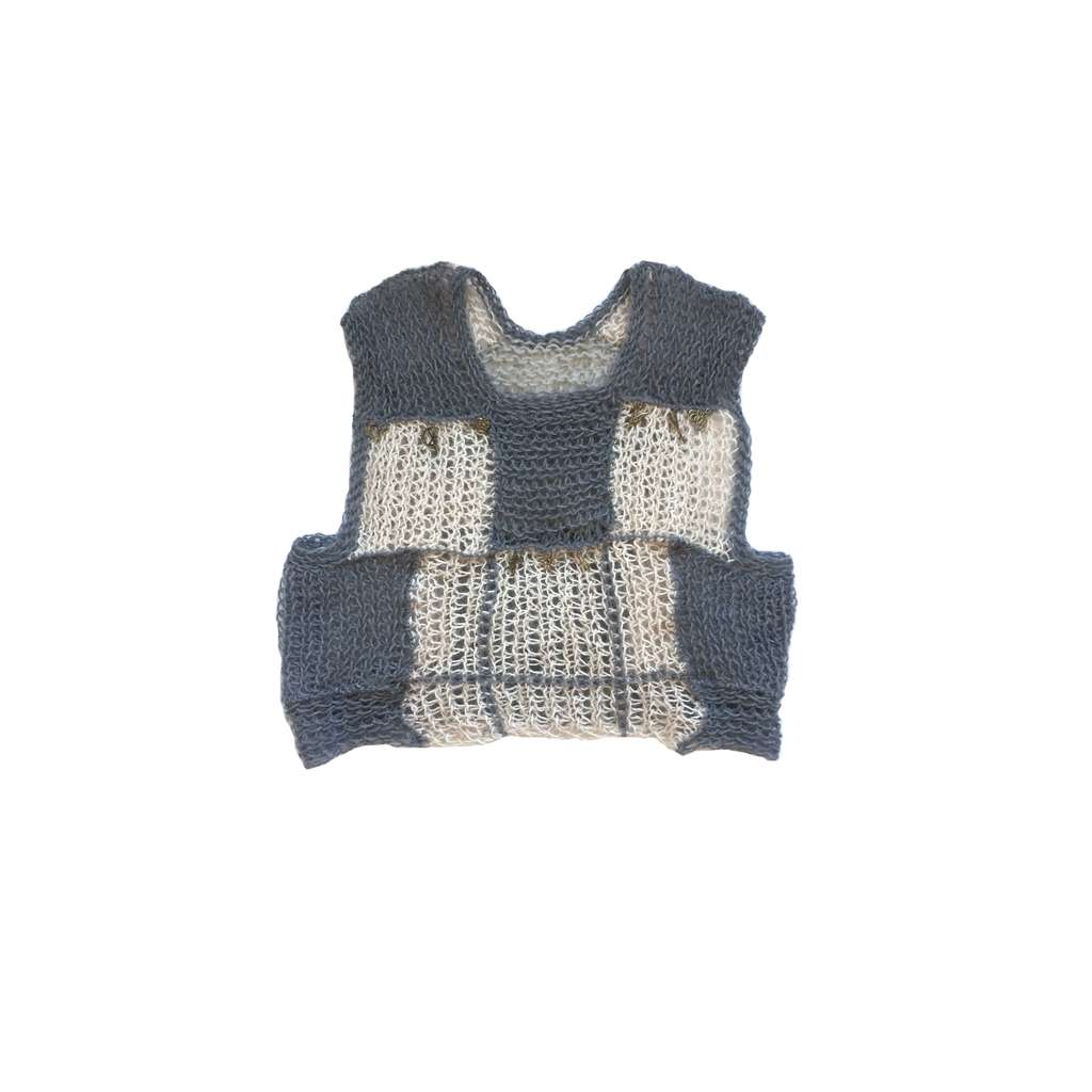 Hand-knitted check vest