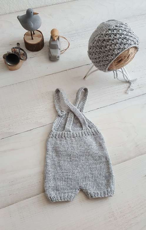 Overalls with straps, pocket and short feet Cotton