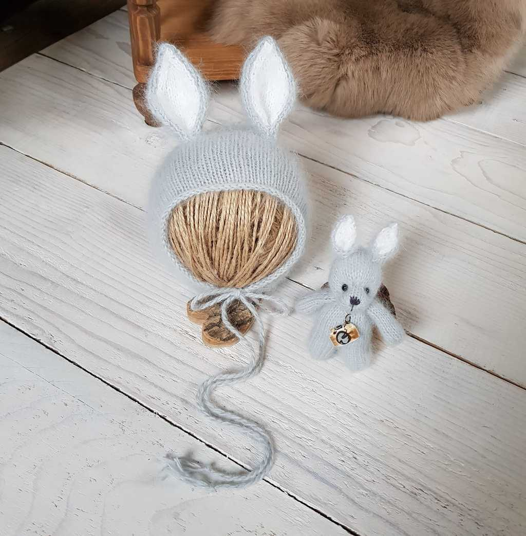 Hat Bunny with cord and standing ears