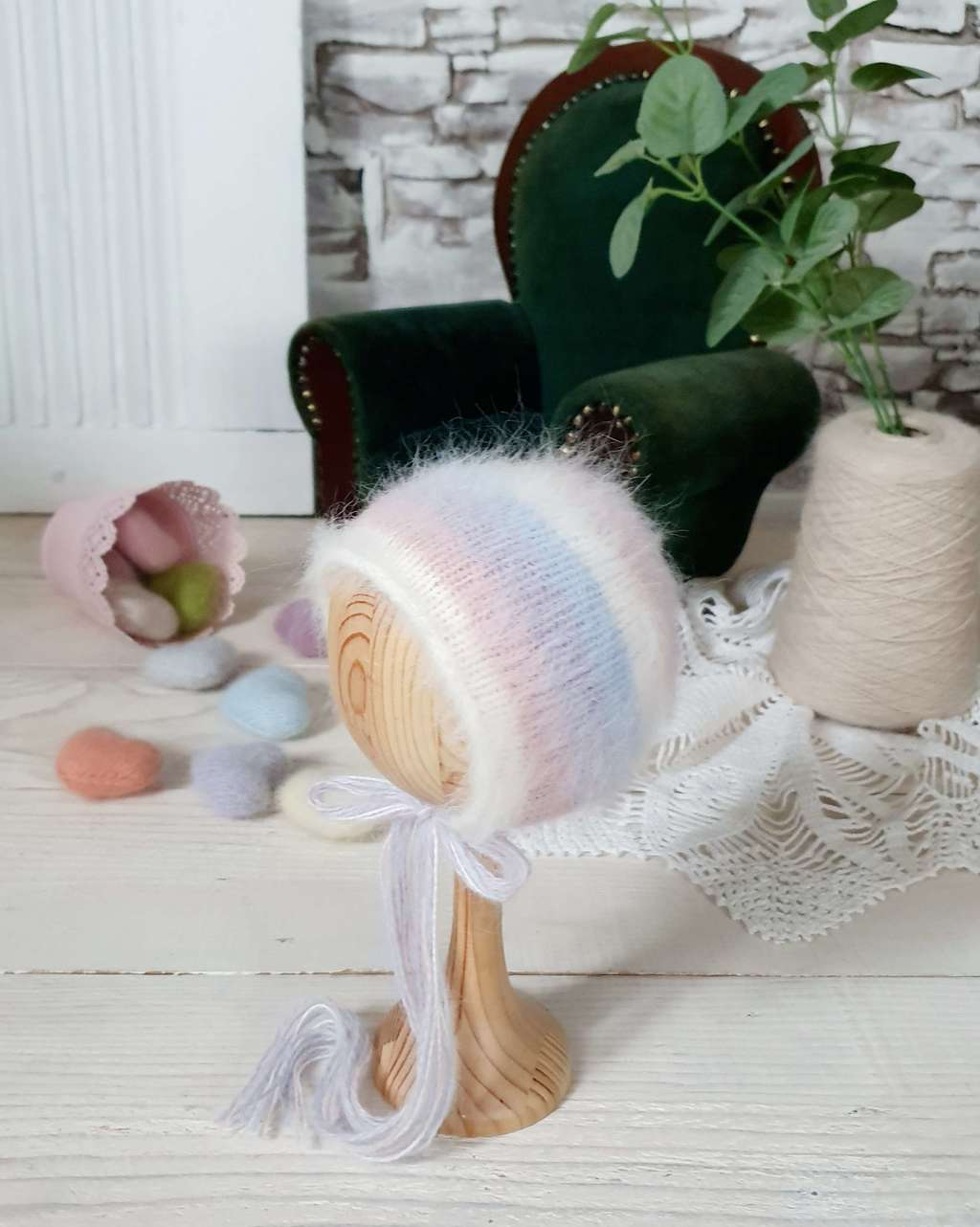 Hat  rainbow with cord