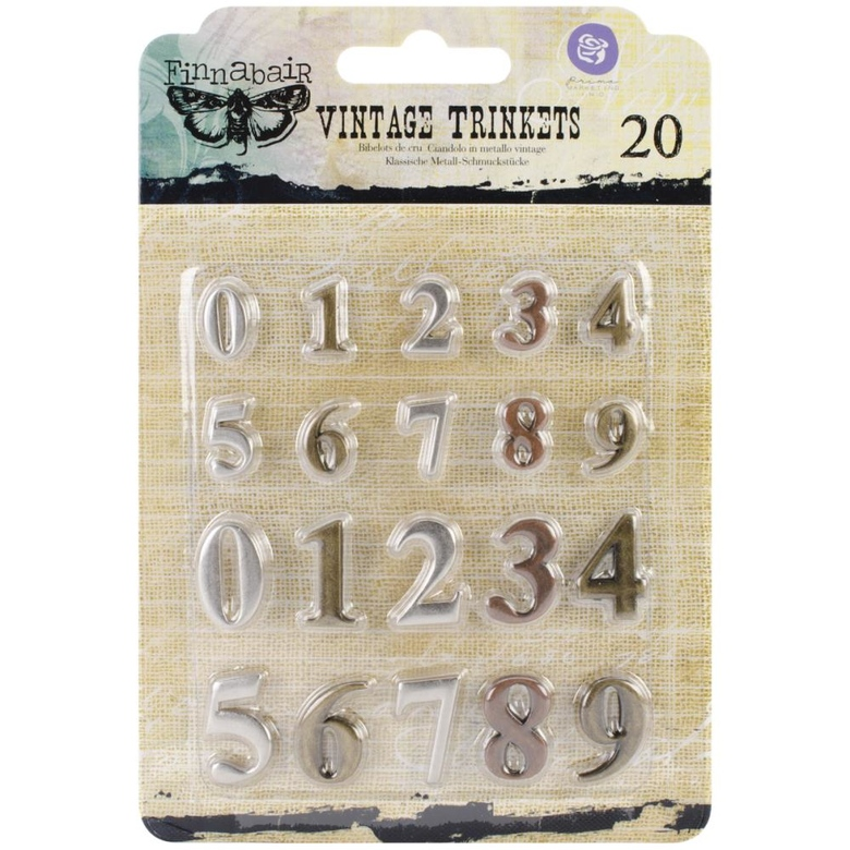 "Металлические цифры арабские Sunrise Sunset Mechanicals Metal Vintage Trinkets Mini Numbers .5"" To .75"", 20/Pkg"