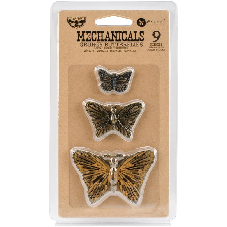 Набор металлических украшений Grungy Butterflies 9/Pkg Finnabair Mechanicals Metal Embellishments