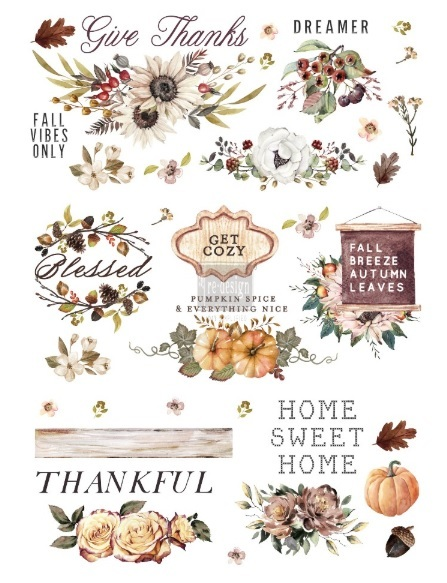 Трансфер (натирка) 2*34 Re-Design Decor Transfers - Thankful Autumn