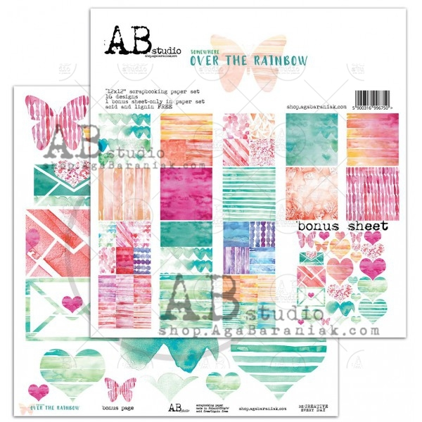 "Набор двусторонней бумаги 30*30см ""Over the rainbow""- scrapbooking paper set 8x 12'x12' + bonus A.B.studio"