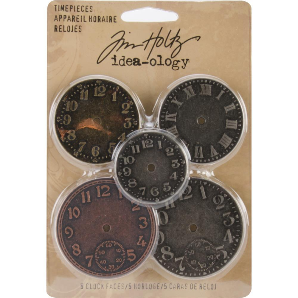 "Металлические украшения Idea-Ology Metal Clock Faces 1.25"" To 1.75"" 5/Pkg  Antique Nickel, Brass & Copper"