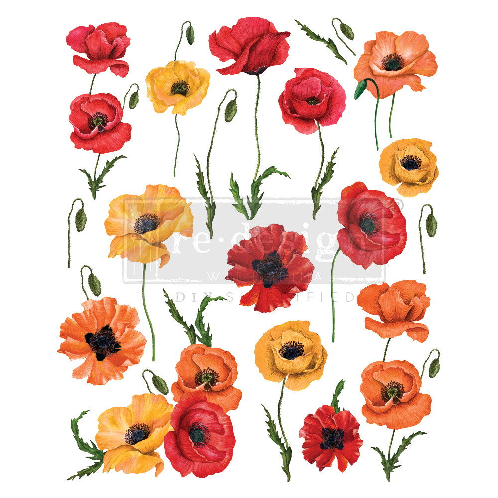 Трансфер (натирка)  Poppy Gardens 24 * 30 Re-Design Decor Transfer