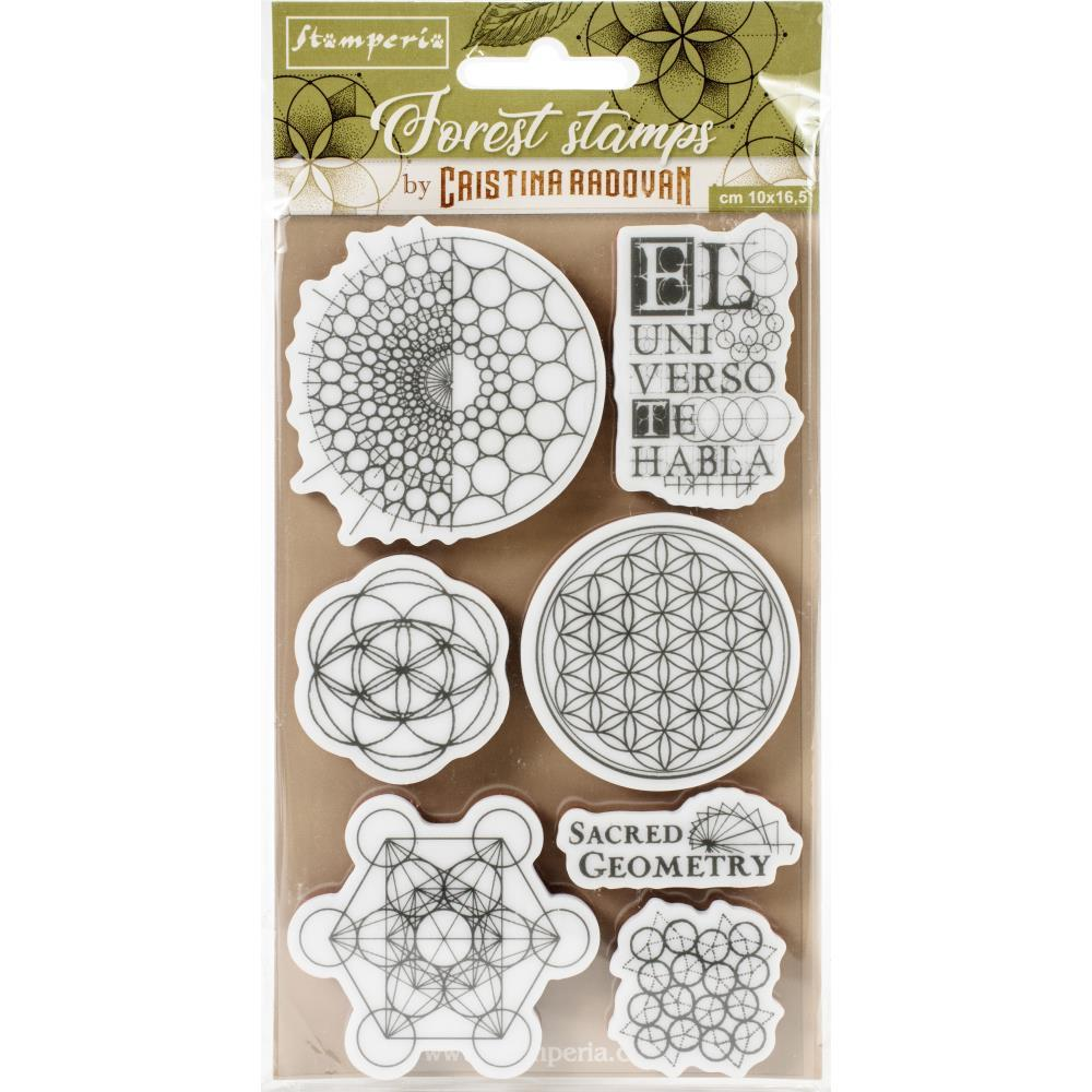 "Набор штампов Sacred Geometry Stamperia Cling Rubber Stamps 3.94""X6.5"""