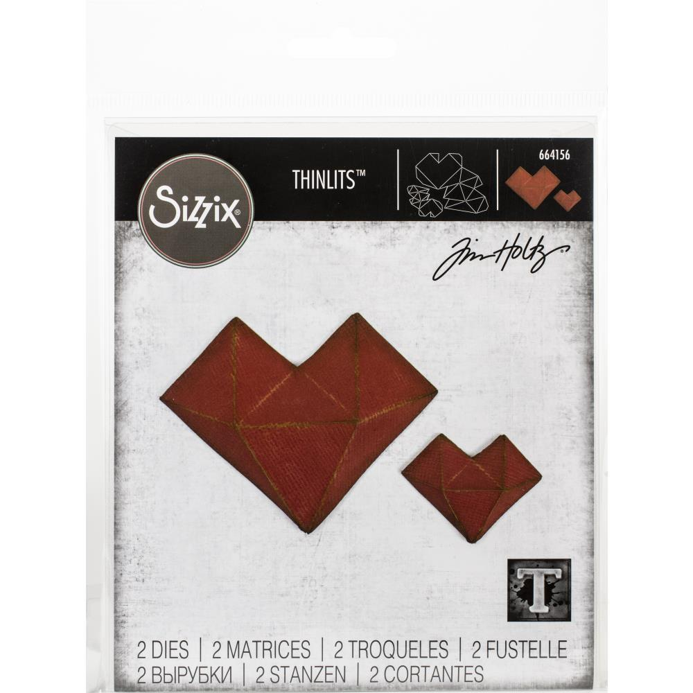 Нож для вырубки Faceted Heart Sizzix Thinlits Dies By Tim Holtz