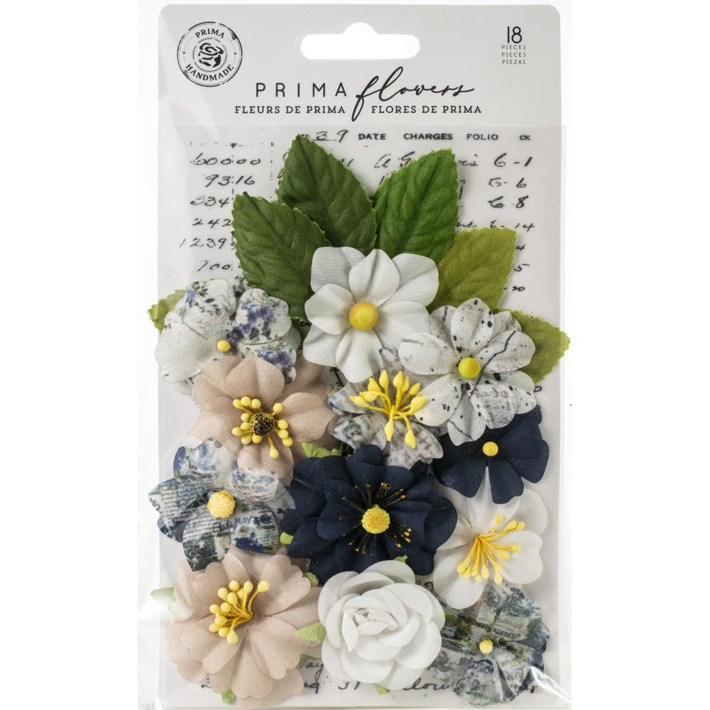 Цветы Emerson/Georgia Blues, 18/Pkg Prima Marketing Fabric Flowers