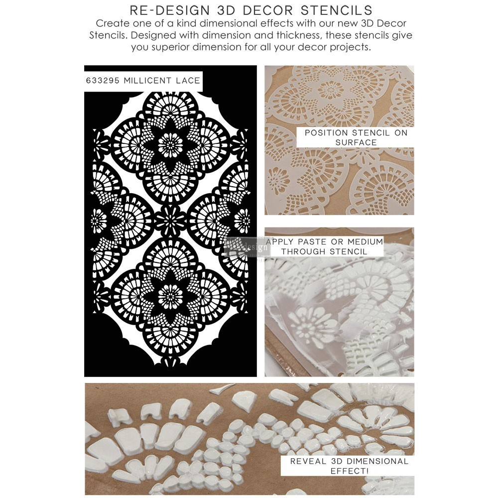 "Трафарет для декора  Millicent Lace Re-Design 3D Decor Stencil - 15.5""X28"""