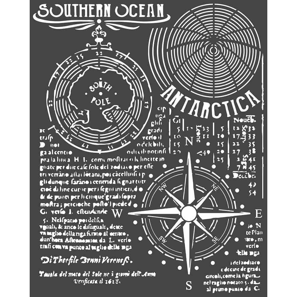 "Трафарет Southern Ocean, Arctic Antarctic Stamperia Stencil 7.87""X9.84"""
