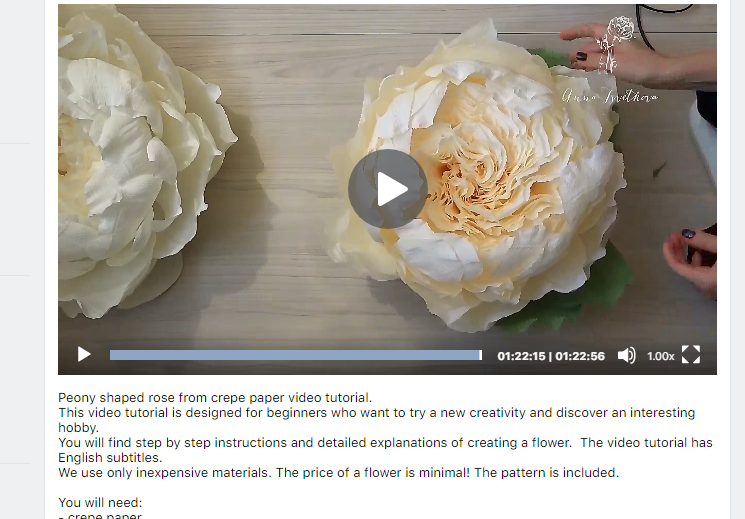 "DIY tutorial ""Peony shaped rose from crepe paper"""
