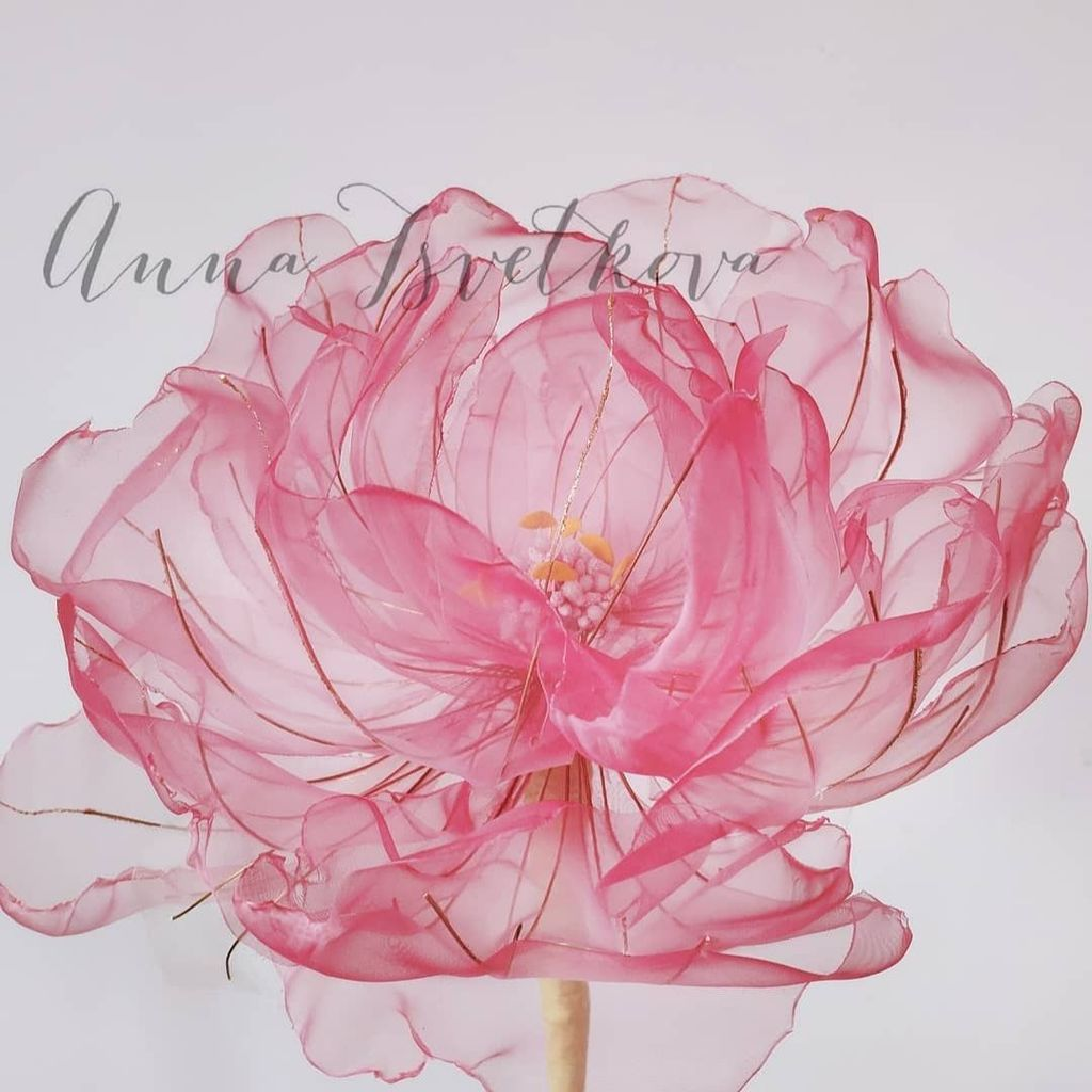 "DIY tutorial ""Peony from light organza tissue"""