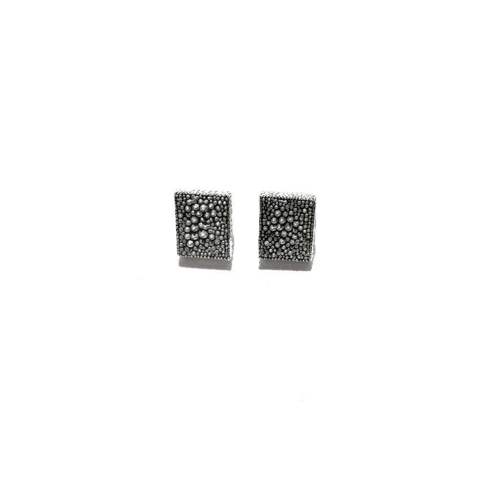 small rectangle stud earrings. COLORFUL. SILVER AND WHITE