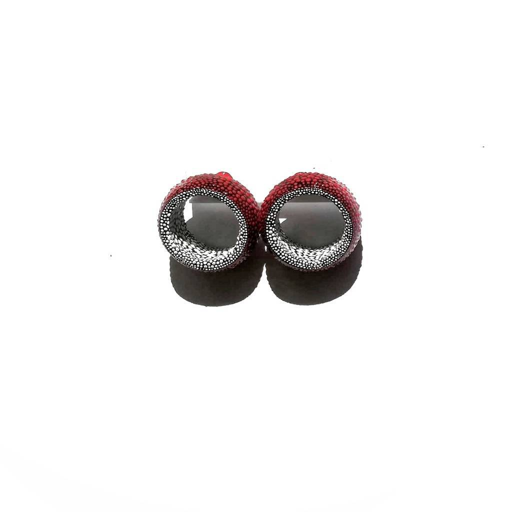 Tunnels stud earrings. COLORFUL. RED AND WHITE