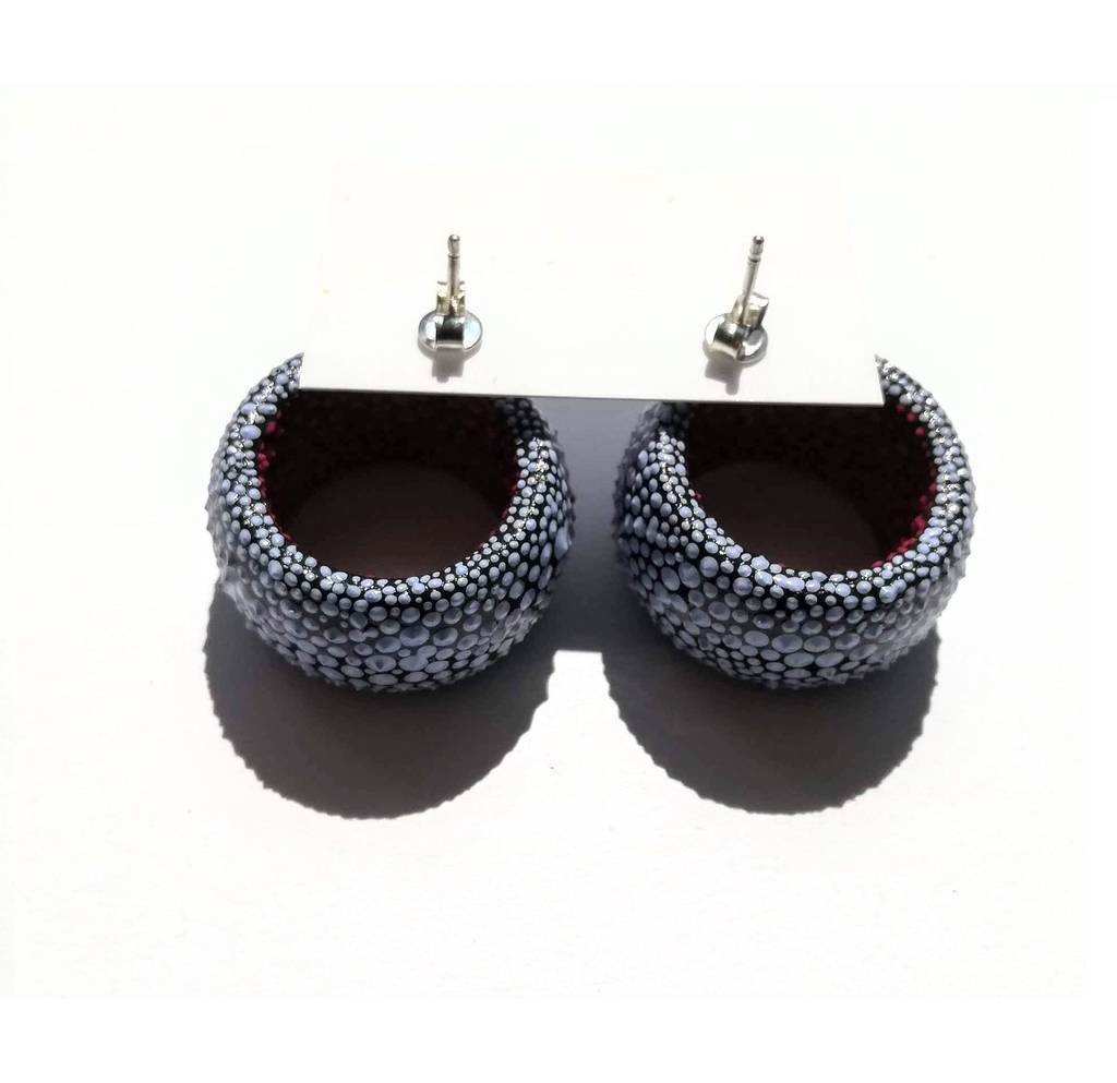 Tunnels stud earrings. COLORFUL. BLUE AND PINK