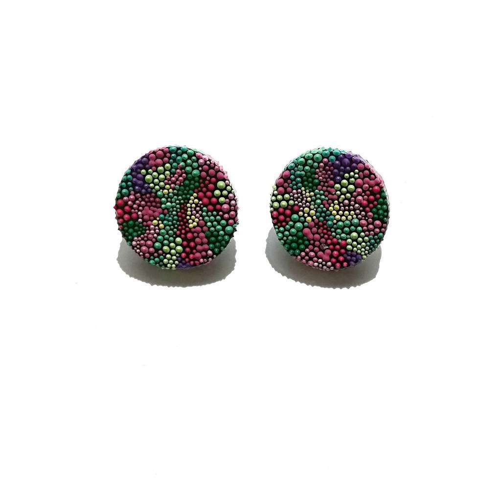 Circle stud earrings. FLOWERS. FIELD IN FLOWERS