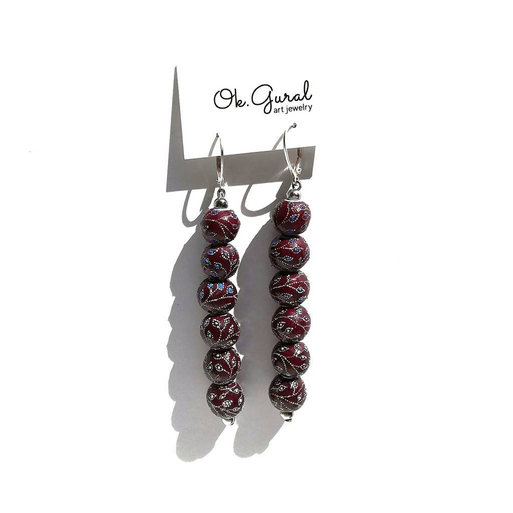 6  beads 10mm dangle earrings. GARDEN. PLUM
