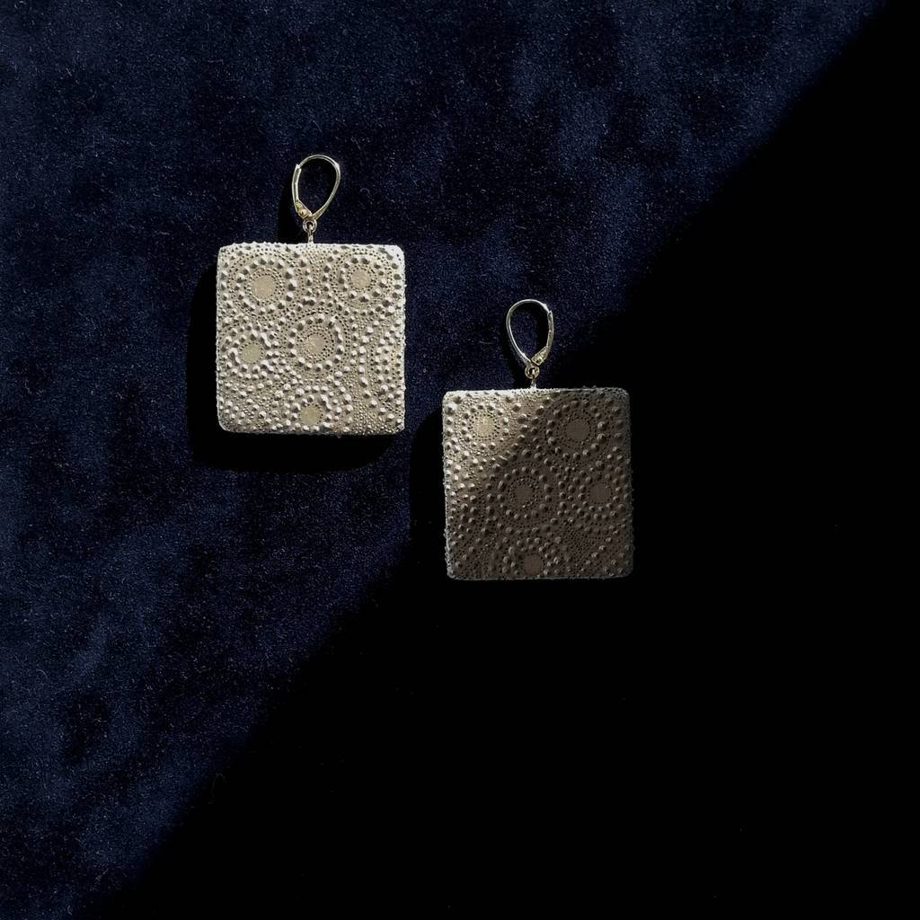 Big squares dangle earrings. AROUND. LIGHT PEARLY