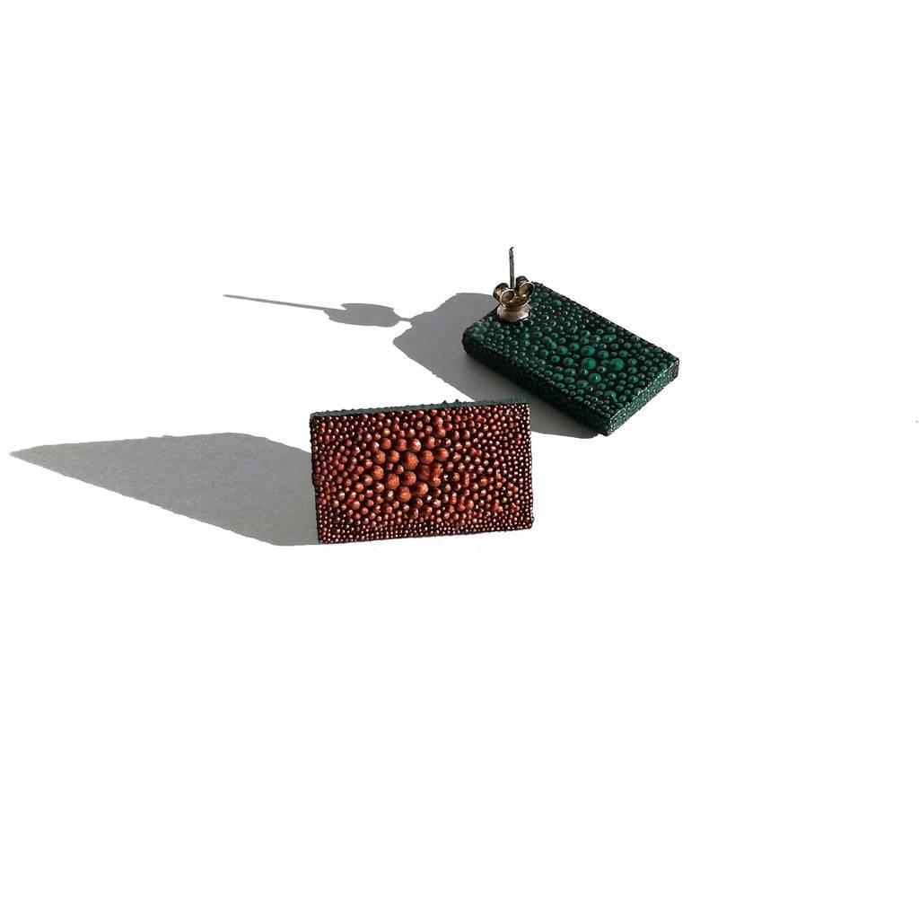 Rectangle stud earrings. COLORFUL. COLOR METALS