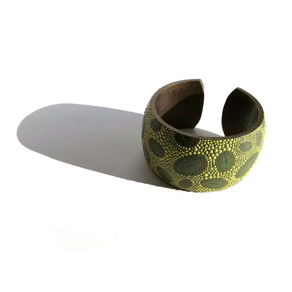 Medium bangle bracelet. DOT. YELLOW ON GREEN