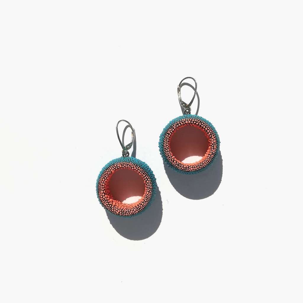 Dangle tunnels earrings. COLORFUL. TURQUOISE AND CORAL