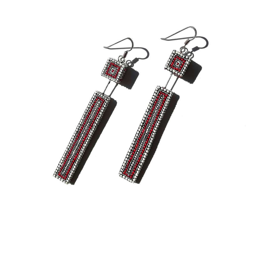 Cube and long rectagle dangle earrings. LINE. WITH RED