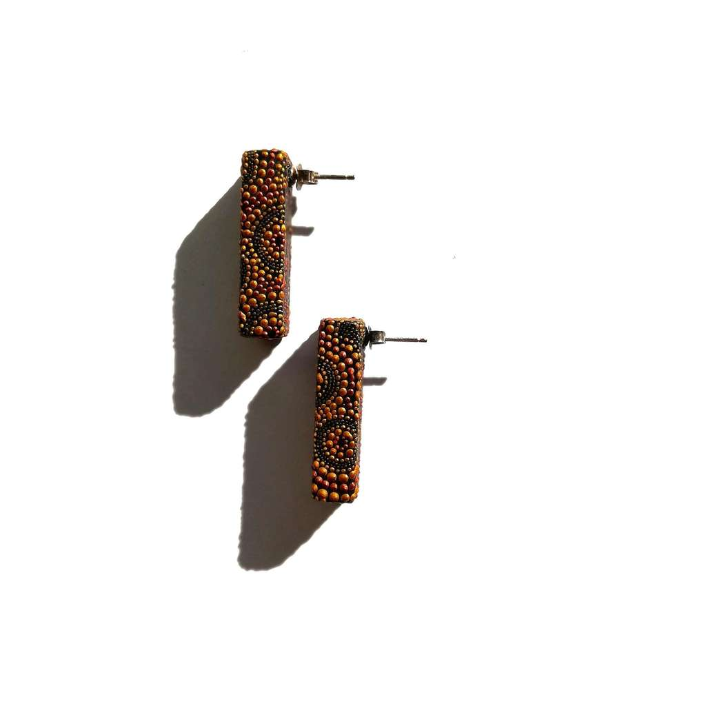 Rectangle parallelogram stud earrings. AROUND. COLOR METALS