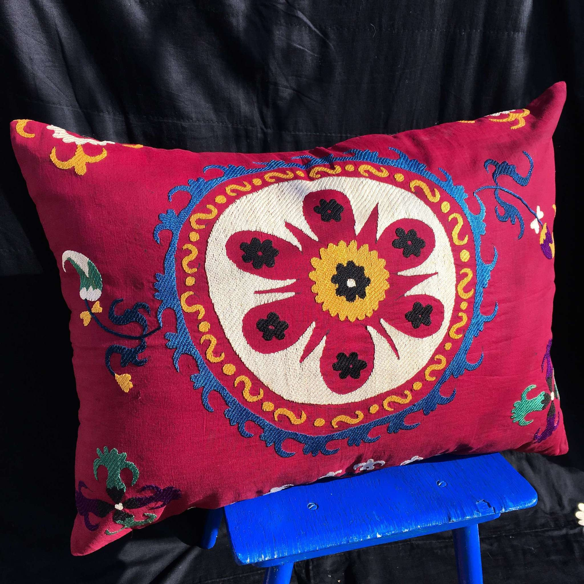 Faded Ethnic Lumbar Pink Pillow cover 8 x 20 Suzani Body Pillow Made from a Vintage Uzbek Suzani