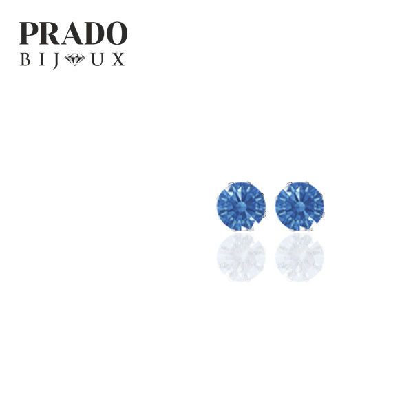 "Пусеты ""Solitaire"" Swarovski zirconia fancy blue"