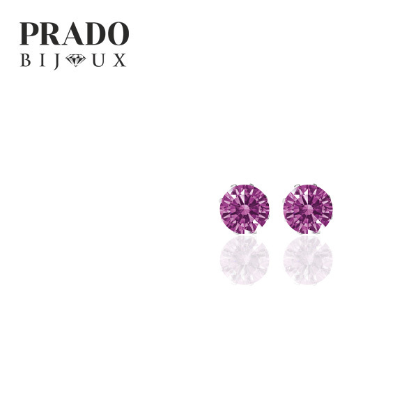 "Пусеты ""Solitaire"" Swarovski zirconia fancy purple"