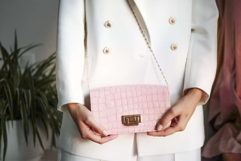 Сумка Crossbody Croco Pink