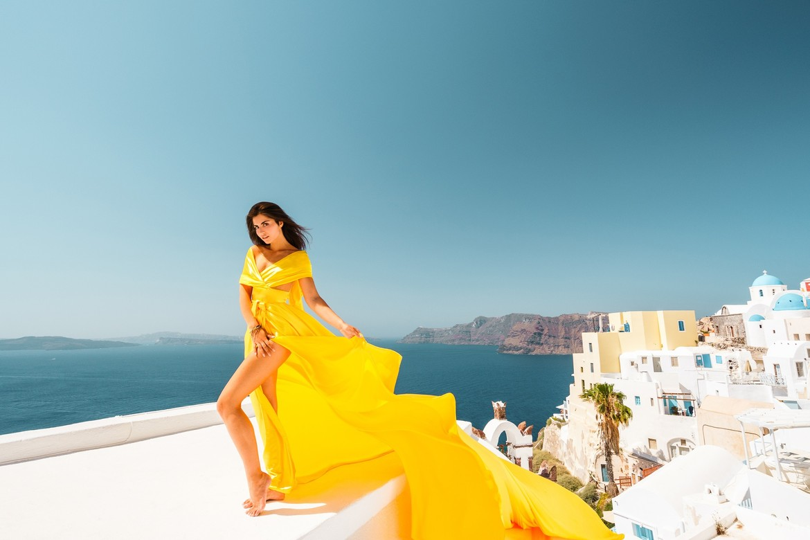 3. Yellow satin dress
