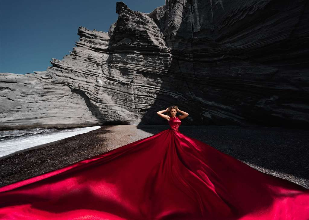 46. Red satin dress