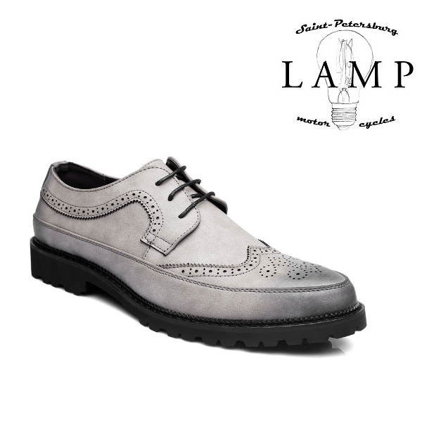 Grey leather oxford boot 605