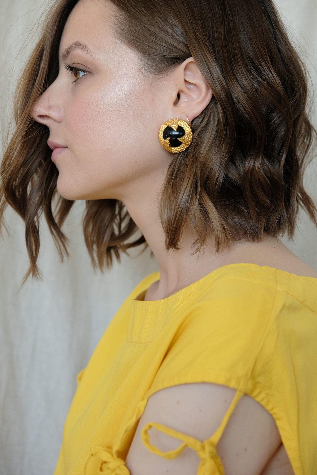 Matte gold Etruscan clip ons