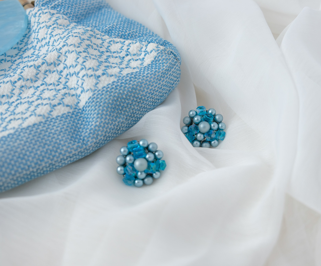 Blue bead Japan clip ons