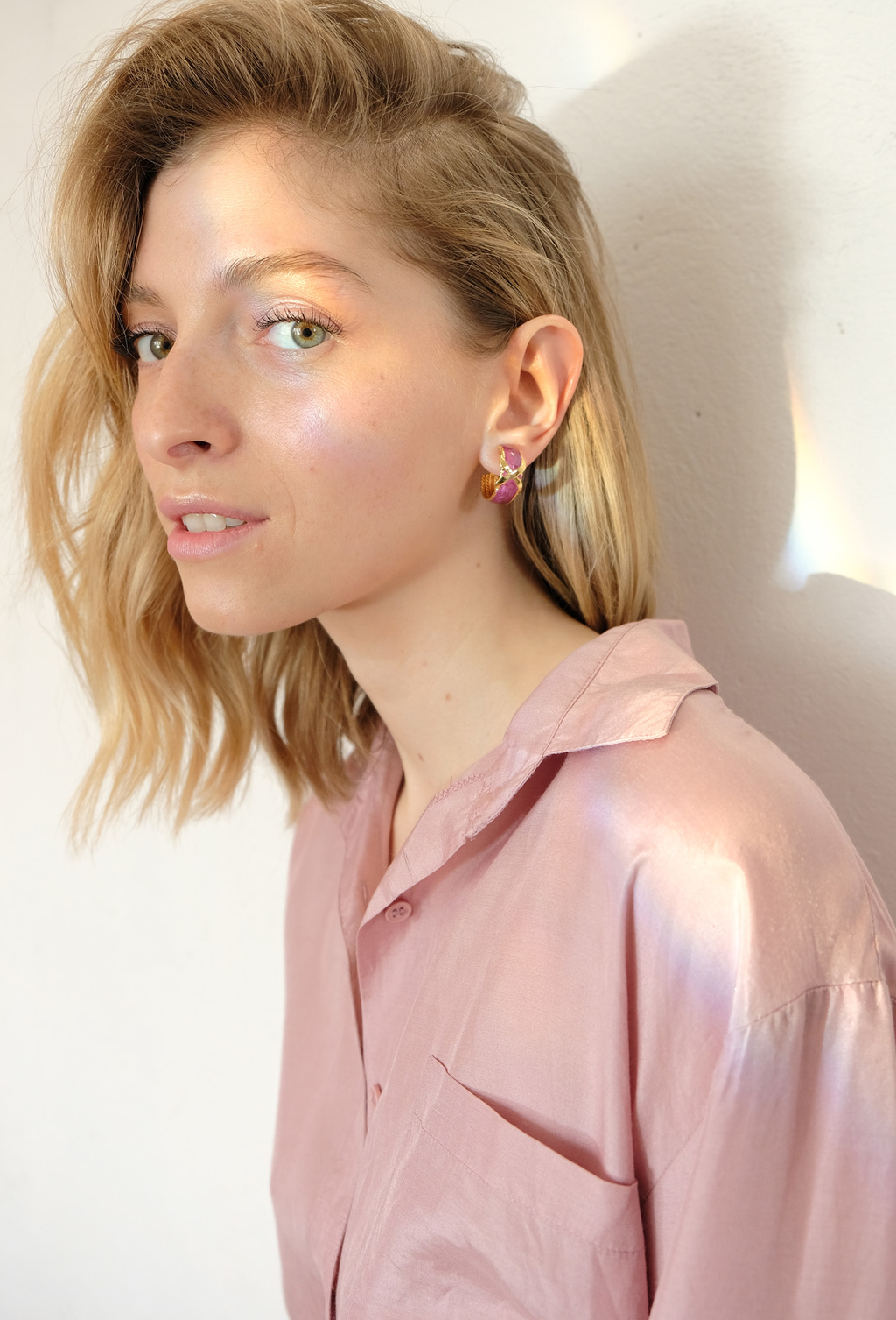 Small pink enamel hoops